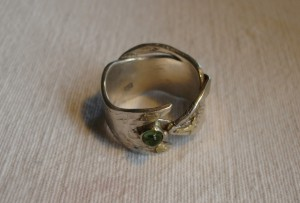 Ring; Silber, Gold, Smaragd